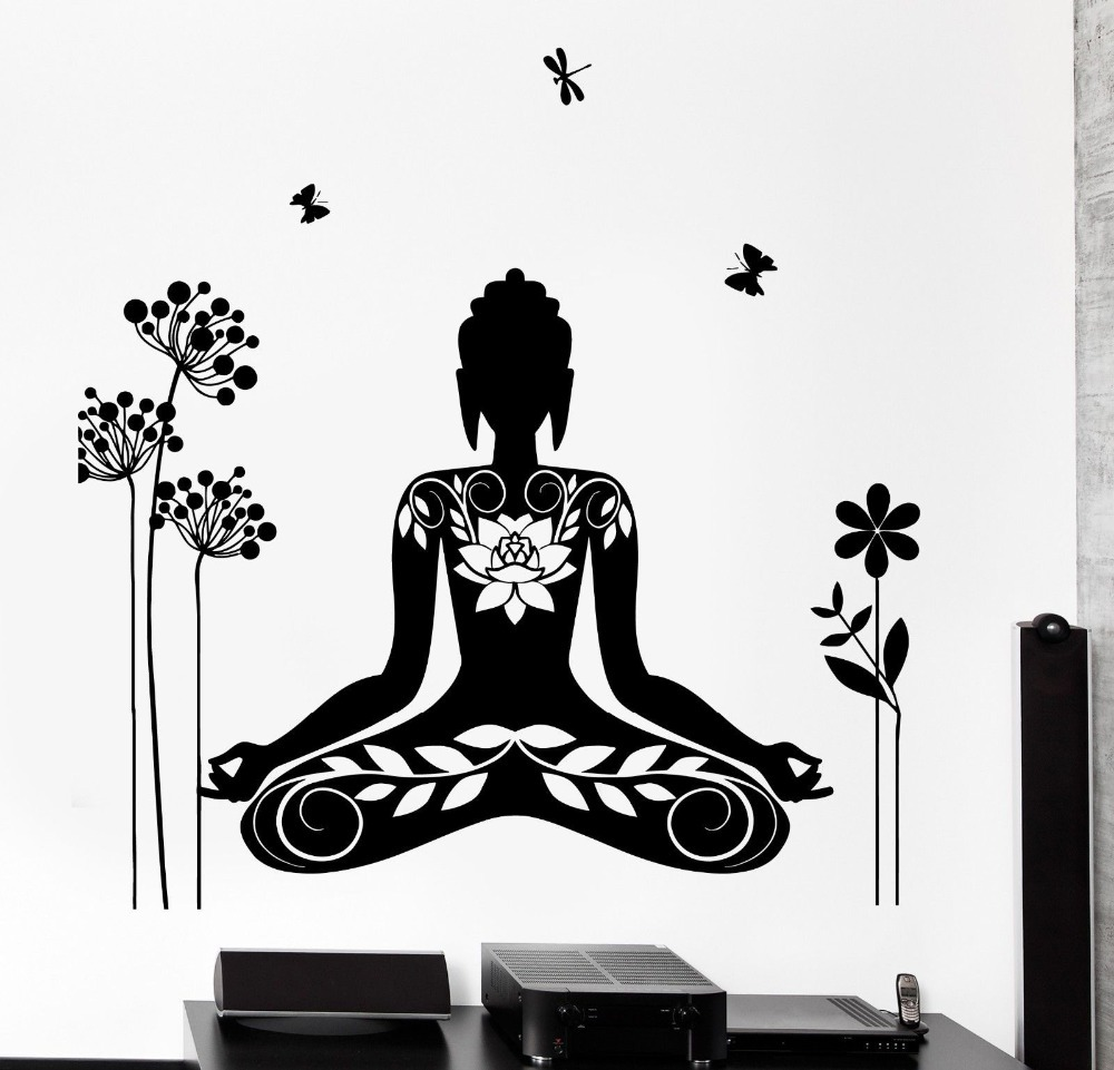 2016 Wall Decal Buddha Yin Yang Oriental Lotus Blossom Meditation OM Wall  Sticker Home Decor mason
