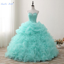 Sapphire Bridal Mint Pleated Ruffles Long Ball Gown