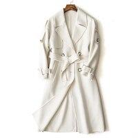 Wsfs Women's Sheep Wool Alpaca Coats White Warm Winter Belt Trench Long Sleeve Woolen Coat Overcoat Jackets Manteau Femme Hiver