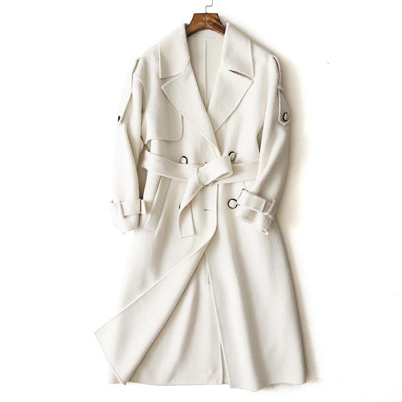 tienda de liquidación 9cbb9 c52f0 € 407.26  Wsfs mujeres ovejas lana abrigos blanco cálido de invierno  cinturón trinchera de manga larga abrigo de lana abrigo chaquetas abrigo  Mujer ...