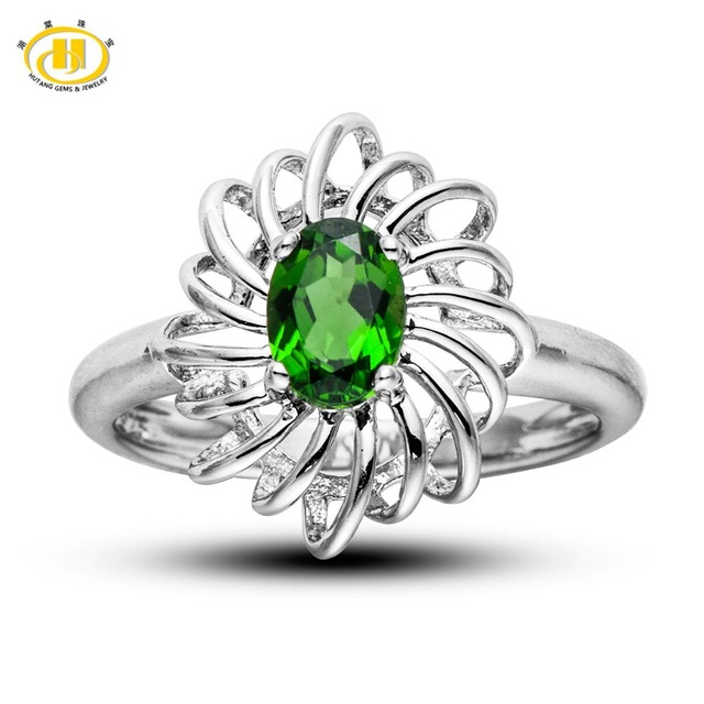 Hutang Natural Chrome Diopside Solid 925 Sterling Silver Ring For Women Fine HuTang Jewelry Oval Gemstone Wholesale
