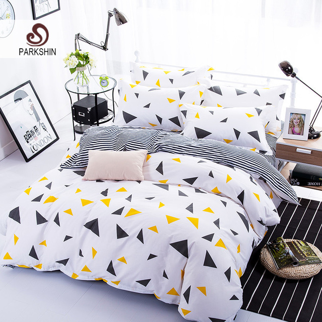 ParkShin Geometric Bedding Set Triangle Duvet Cover Set Twin Full Queen King Bedclothes Active printing 4pcs Bed Linen