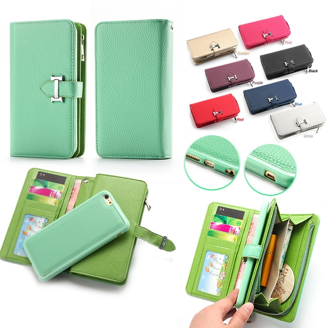 Luxury Zipper Leather Wallet Phone Case For Apple iPhone 6 6 Plus Flip  Cover Purse Detachable Magnetic Closure Money Handbag c23c2d02f40c