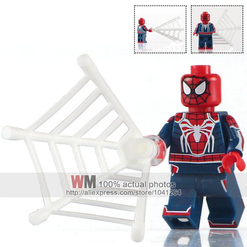Toys & Hobbies Wm 20pcs/lot Super Heroes Xh677 Game Spiderman Iron Man Masked Robber Silk Building Blocks Bricks Children Gift Toys X0168 Blocks