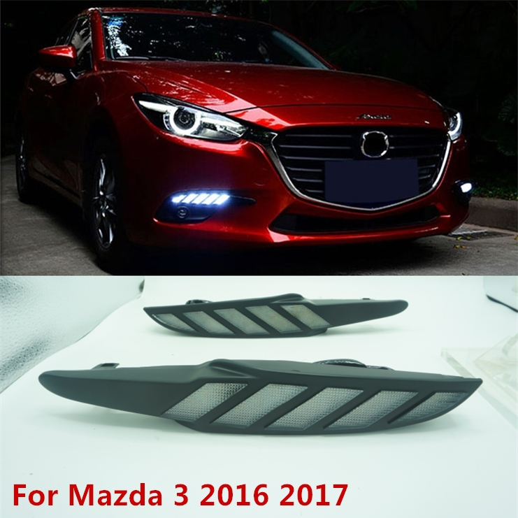 Moving signal! For Mazda 3 Mazda3 Axela 2017 LED DRL Daytime Running Light Daylights yellow Signal lamp car-Styling lights new brand led daytime running light drl for mazda 3 axela 2014 16 with yellow turn signal guiding bar design top quality