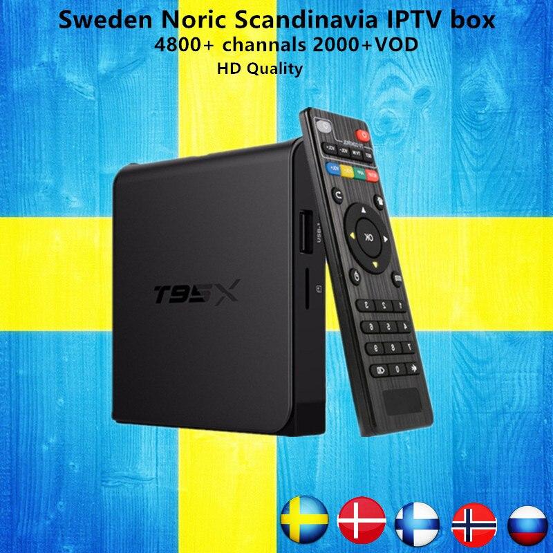 Sweden iptv Box T95X Amlogic S905X Android 6.0 TV Box HD 4K Smart tv box+1 Year 4700+Russian Nordic Arabic IPTV free shipping new box scandinavia iptv tx3mini android 7 1 16gb tv box amlogic s905w quad core 4k hdmi h 265 box 1 year sweden norway iptv