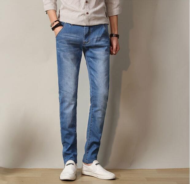2ab0820d330b1 Babbytoro hombres jeans 2018 jeans para hombre elástico cintura skinny  jeans largo slim fit casual pantalones denim Pantalones hombres 28 38 36 en  ...