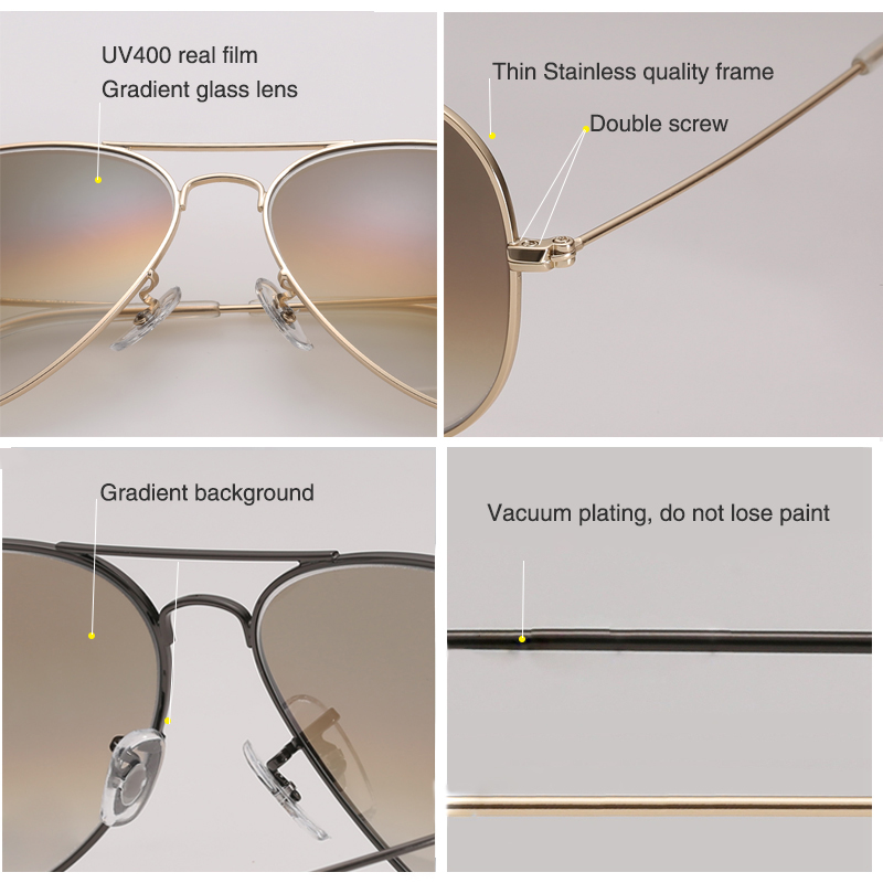 Super Quality Gradient Glass Lens fashion woman men Sunglasses cool  brand unisex classic female oculos cool man sun Glasses