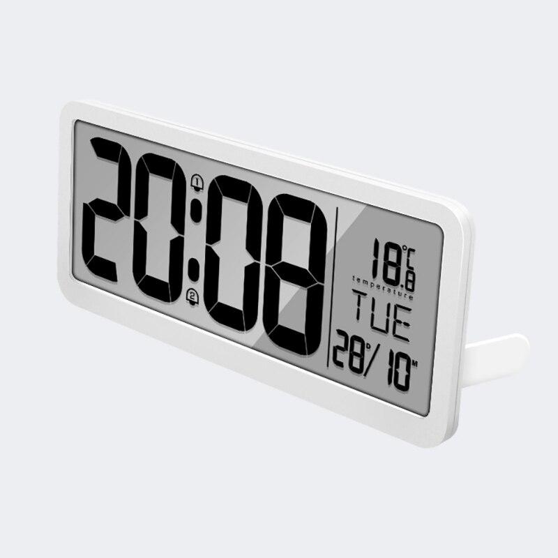 Horloge murale numérique à Volume réglable alimentée par batterie avec 2 réglages d'alarme grande horloge d'affichage à cristaux liquides - 4
