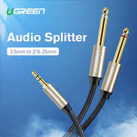Ugreen Jack 3.5mm to 6.35mm Adapter Audio Cable for Mixer Amplifier Speaker Gold Plated 6.5mm 3.5 Jack Male Splitter Audio Cable