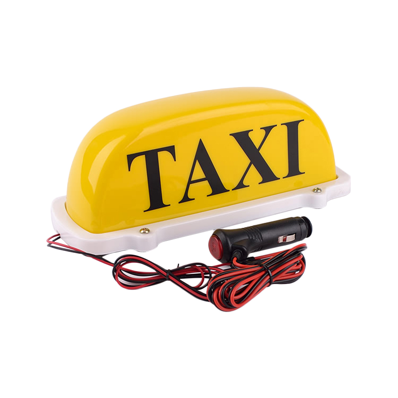1 Pc Yellow Lamp Waterproof 12V Car Taxi Sign Cab Topper Roof Sign Light Lamp Bulb Cigarette Lighter Magnetic Base 3M Wire 12v taxi magnetic base roof top cab led sign light lamp with cigarette lighter