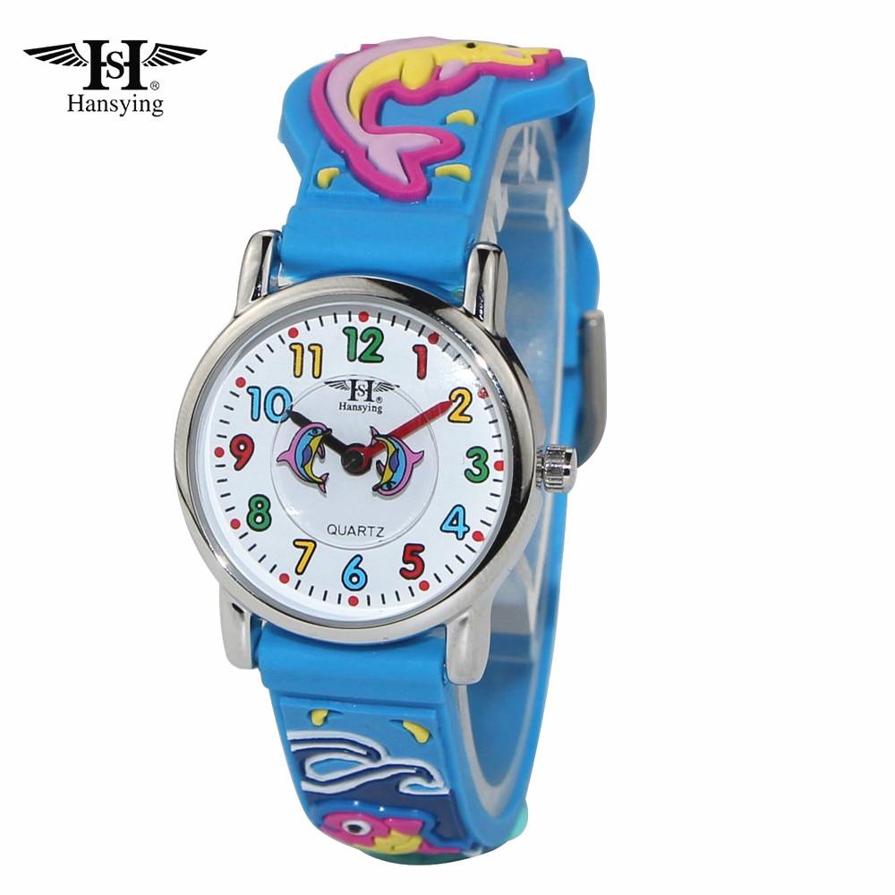 Jauns ierašanās Hansying zīmols bērniem 3D delfīnu siksnas kvarca ūdensnecaurlaidīgs pulkstenis Bērni meitenes zēni pulksteņi studenti Pulkstenis Reloj