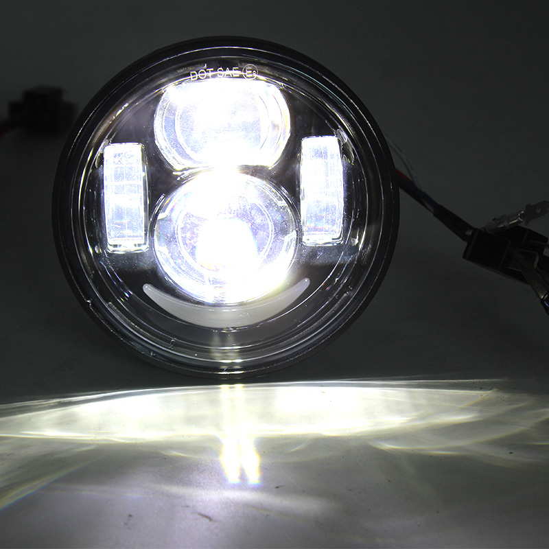 Harley Fat Bob Motorcycle Dayna Fat Bob Daymaker Style Head Lights 4.6inch Hi/low Beam with parking lights FatBob Dual Headlamp