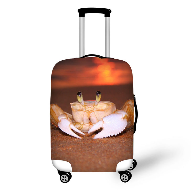 Sea Animal Crab Print Travel Accessories Suitcase Protective Covers 18 32 Inch Elastic Luggage Dust Cover Case Stretchable