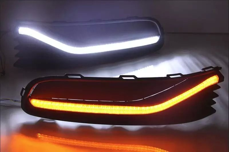 eOsuns LED DRL daytime running light for Volkswagen VW polo 2015, wireless switch control, yellow turn signal