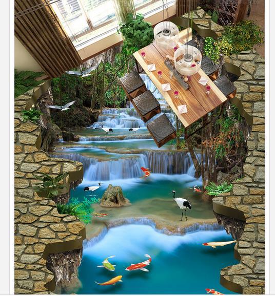 3d plancher peinture papier peint cascade rivière eau grue 3D plancher peinture pvc plancher papier peint 3d plancher