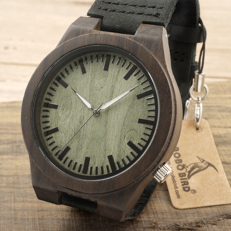 BOBO BIRD Men's Wooden Watches Black Ebony Wood Bamboo Casual Analog Busineess Watch Janpanese Miyota Movement In Gift Box bobo bird e21 new arrival bamboo wood men watches with mental quartz watches real leather band janpanese movement in gift box