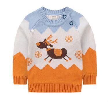 Новый 2016 весной и осенью чистого хлопка вязание новорожденных свитер девочка трикотажные топ мальчиков одежда верхняя одежда