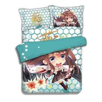Japan Anime kantai collection kongou 4pcs Bed Linen Bed Sheets Duvet Cover Set