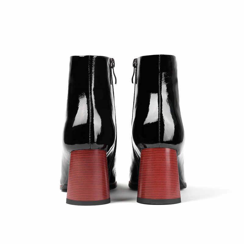 TXCNMB 2019 Kış Çizmeler Kadın Hakiki Deri Doğal Çizmeler Kadın Fermuar Siyah Bej Yüksek Topuk Ayakkabı Kadın
