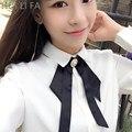 Huilifa Novo 2017 Primavera Outono Camisa Blusa Chiffon Mulheres Manga Comprida Bow Tie top Branco Blusas Camisas topos de Escritório do Sexo Feminino