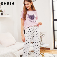 SHEIN Print Pajamas Set Two Piece Sleepwear Multicolor Cat Print Short Sleeve Top And Drawstring Shorts