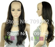wholesale good Natural Kanekalon Fiber Hair wigs human Women's half bulkness half fashion female dark brown wave wig 3/4 wigs