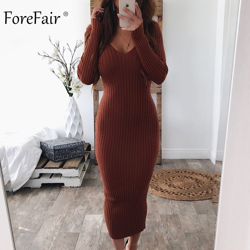 Forefair Knitted Midi Dress Women Autumn 2019 V Neck Basic Slim Ribbed Long Sleeve Bodycon Solid Black White Sexy Winter Dress