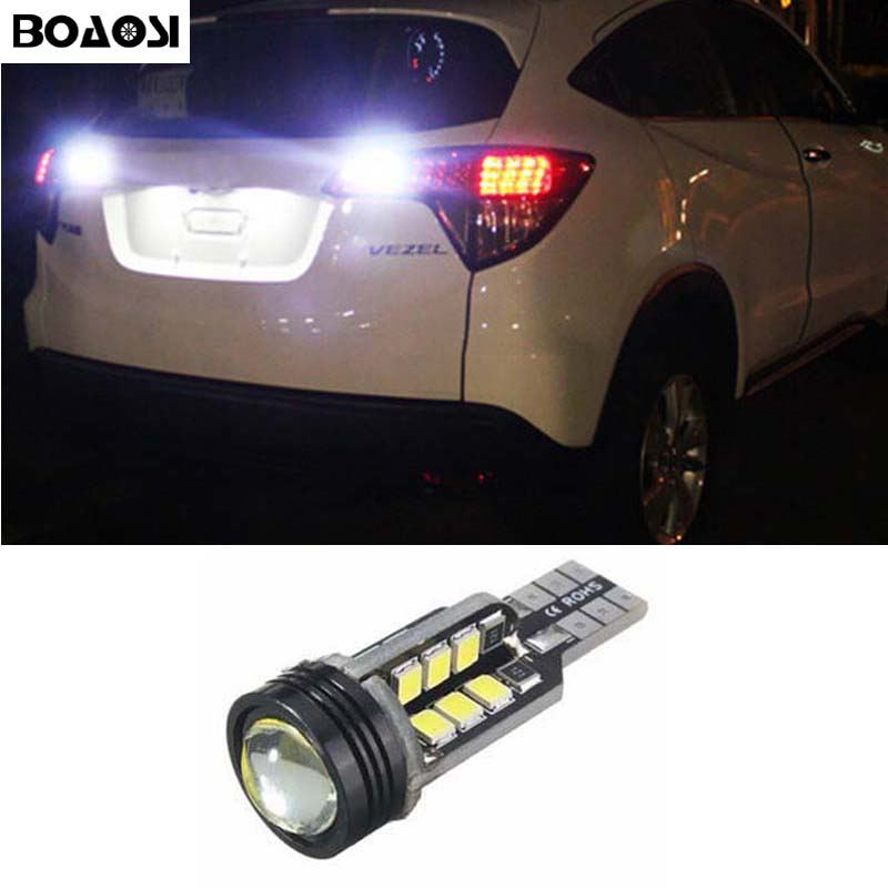 BOAOSI 1x Error Free Super Bright White LED Bulbs For Backup Reverse Light 921 912 T15 W16W For HONDA VEZEL HRV 2015 accessories 2pcs high quality superb error free 5050 smd 360 degrees led backup reverse light bulbs t20 for hyundai i30