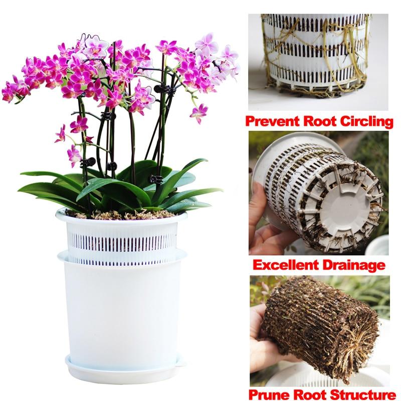 Malla 5 6 8 pulgadas de plástico orquídea olla con agujeros maceta olla jardín olla orquídea plantador contenedor excelente drenaje