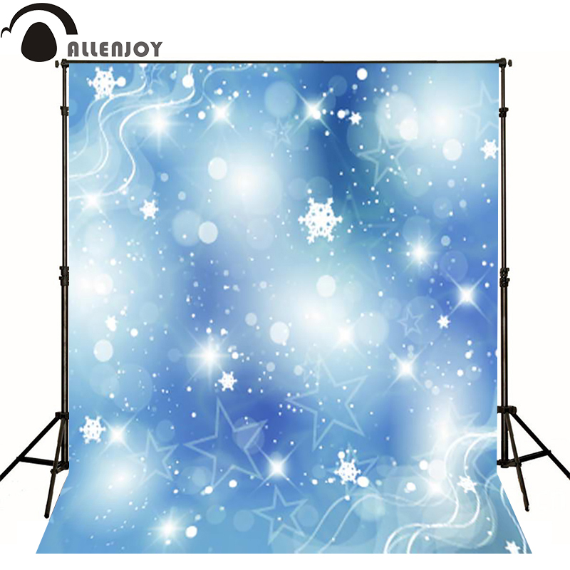 Allenjoy photographic background Blue blur snowflake Christmas photo backdrops for sale professional fabric