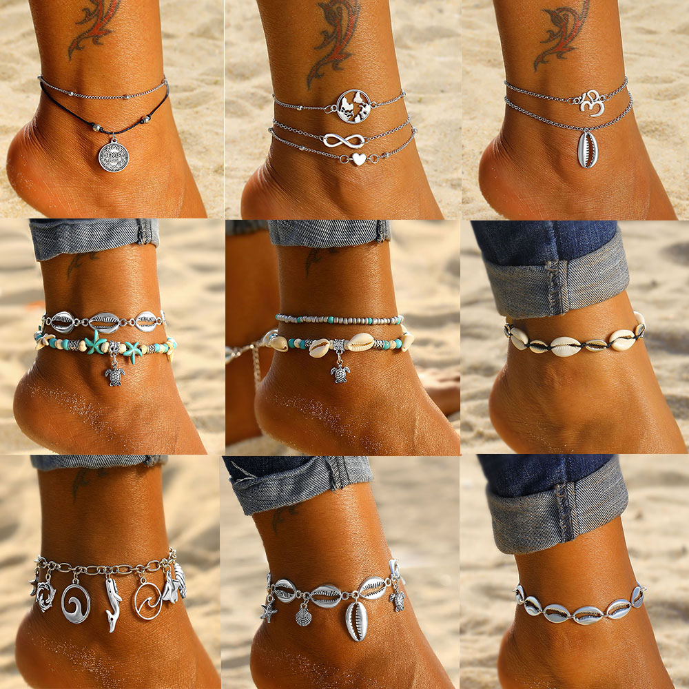 IPARAM Bohemian Vintage Shell Turtle Anklet for Women Multi-Layer Beach Summer Anklet Jewelry Bracelet Foot Jewelry