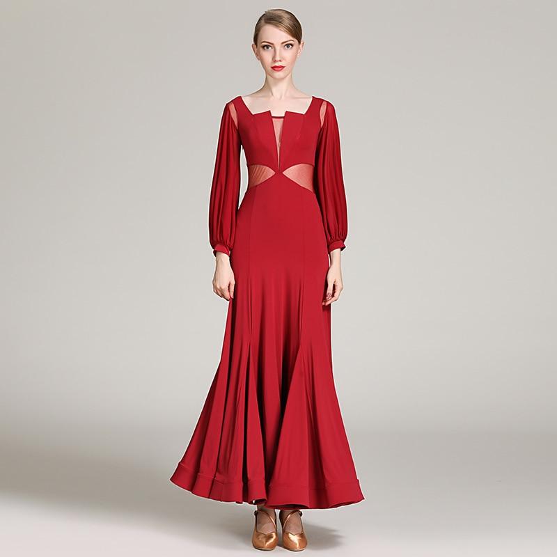 Moderne Vert Valser rouge Tenue Competition Robe De Danse Dame Dance Costume Soirée Femmes Adulte Fête Ballroom Yilinfeier 1859 QrWedCxBo