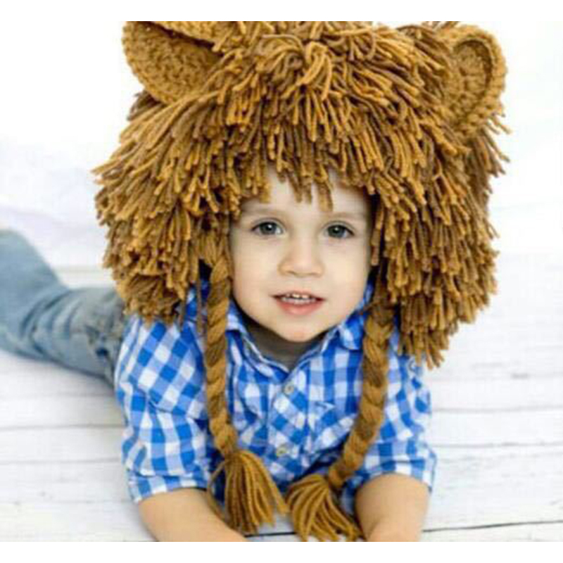 Autumn Winter Baby Wig Hat Knitted Handmade Toddler Kids Lion Hat Caps Boys Girls Cosplay Party Fun Hat Beanie Halloween