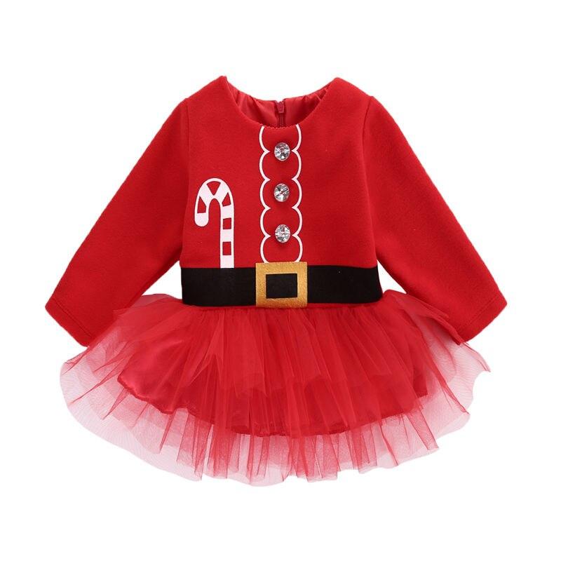 Симпатичные Новорожденных Малышей Младенческой Baby Girl Dress Санта-Клауса Tulle Dress Костюмы Костюмы Повседневная Одежда 0-2 Т