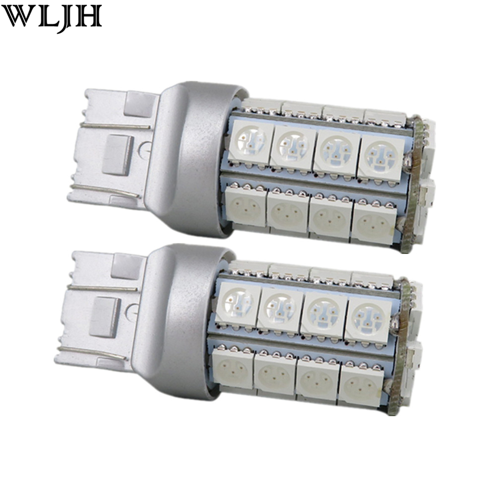 WLJH 2x Car Bulbs LED 7443 T20 7444NA LED Bulb External Auto Parts Turn Signal Lights Tail Lights Brake Lights White Red Amber
