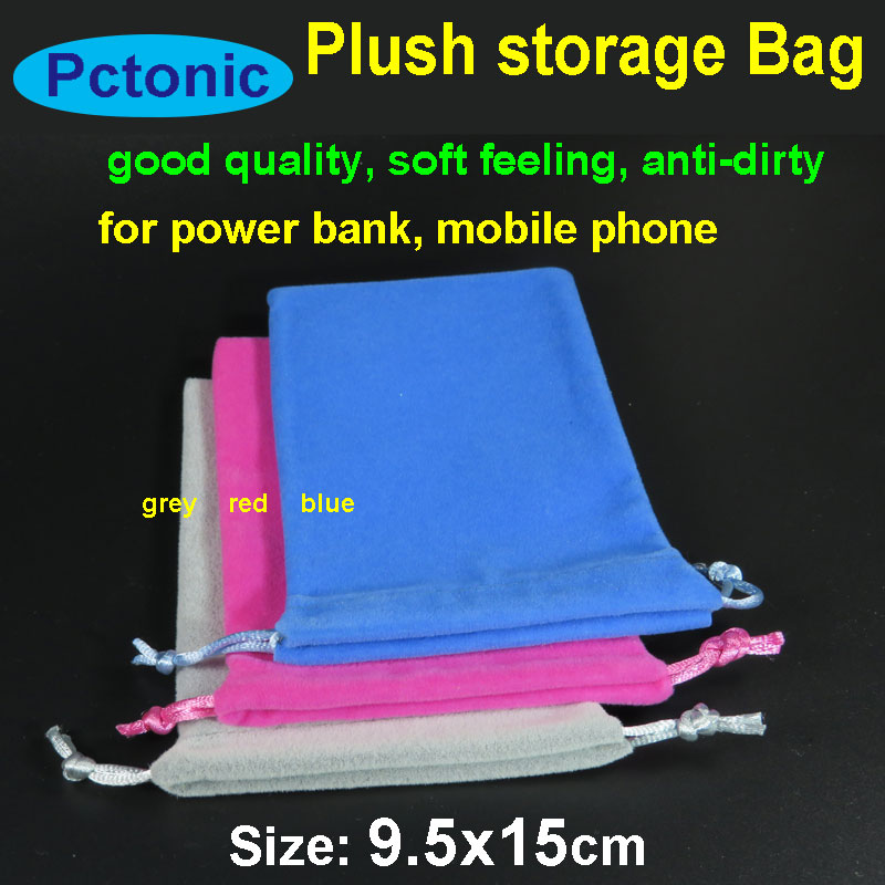 PCTONIC Flannelette Sleeve Bag Pouch Storage Bag Velvet Plush Case With  Drawstring Rope For Power Bank Iphone Red Blue 10x15cm
