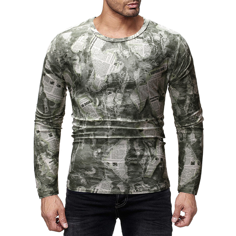 Casual Printed Men's T-Shirt Spring Autumn Loose Long-Sleeved Tshirt Hip Hop Streetwear Plus Size M-2XL