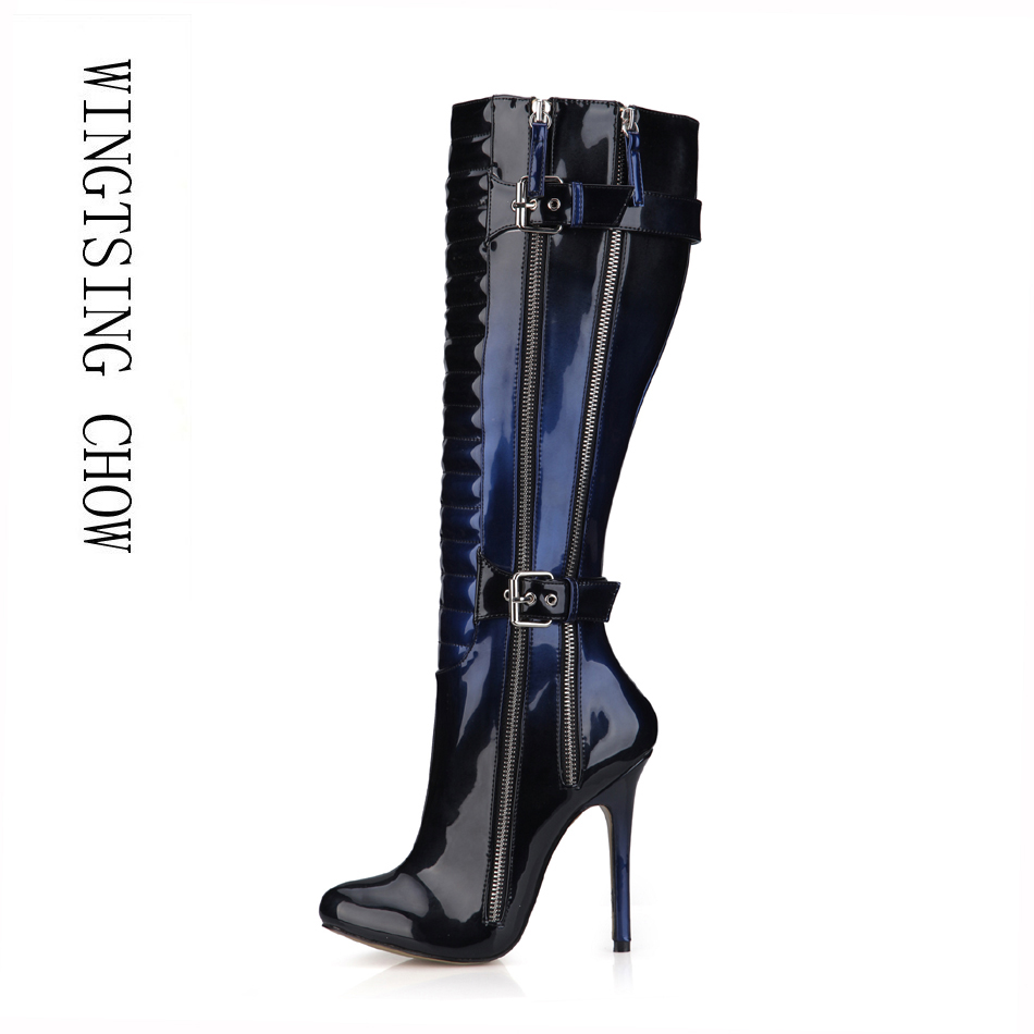 2016 Winter Blue Black Sexy Party Shoes Women Stiletto High Heels Buckle Zipper Ladies Knee-High Boots Zapatos Mujer 0640cbt-y3 steelmaster