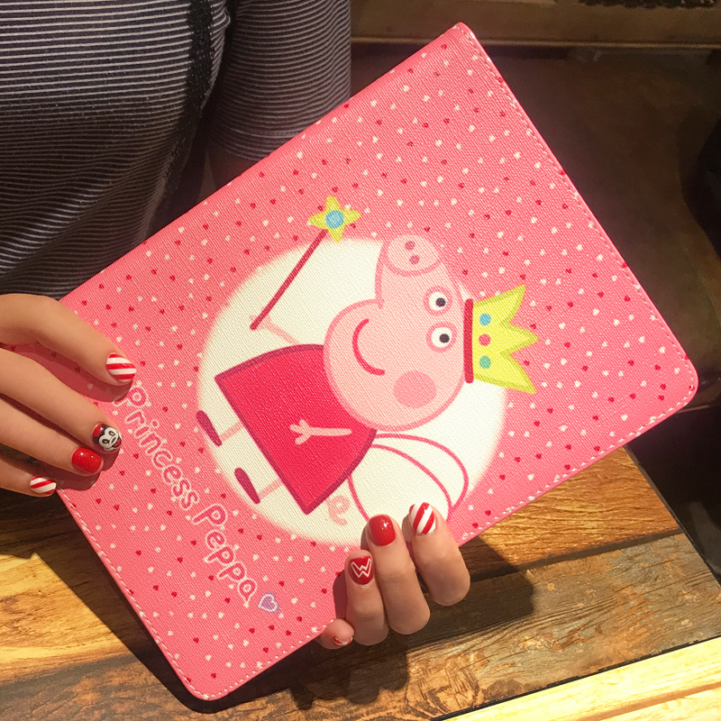 For IPad Min 4 3 2 1 Case Cartoon Lovely Peppa Pig Flip Folio PU Leather Cover Case For IPad 4 3 2 Alabasta Soft TPU Tablet Skin case for ipad air1 alabasta pu leather