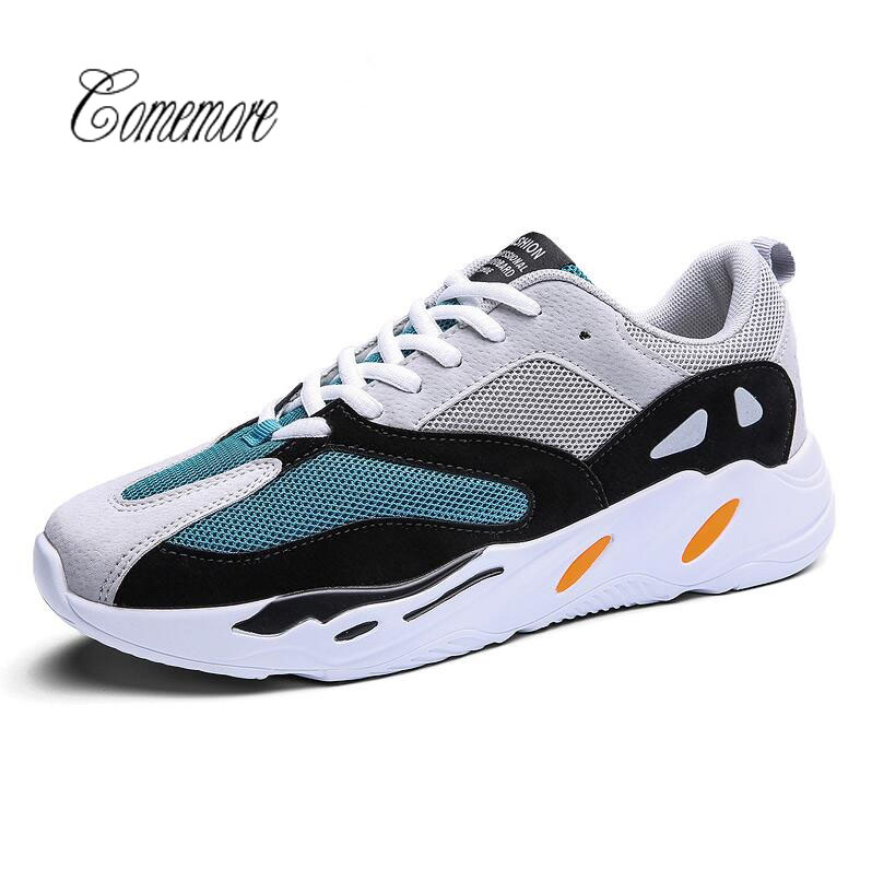 Comemore Running Shoes For Men 2018 Autumn New Men Sneakers Lace Up Low Top Jogging Shoes Man Athletic Footwear Breathable Sale