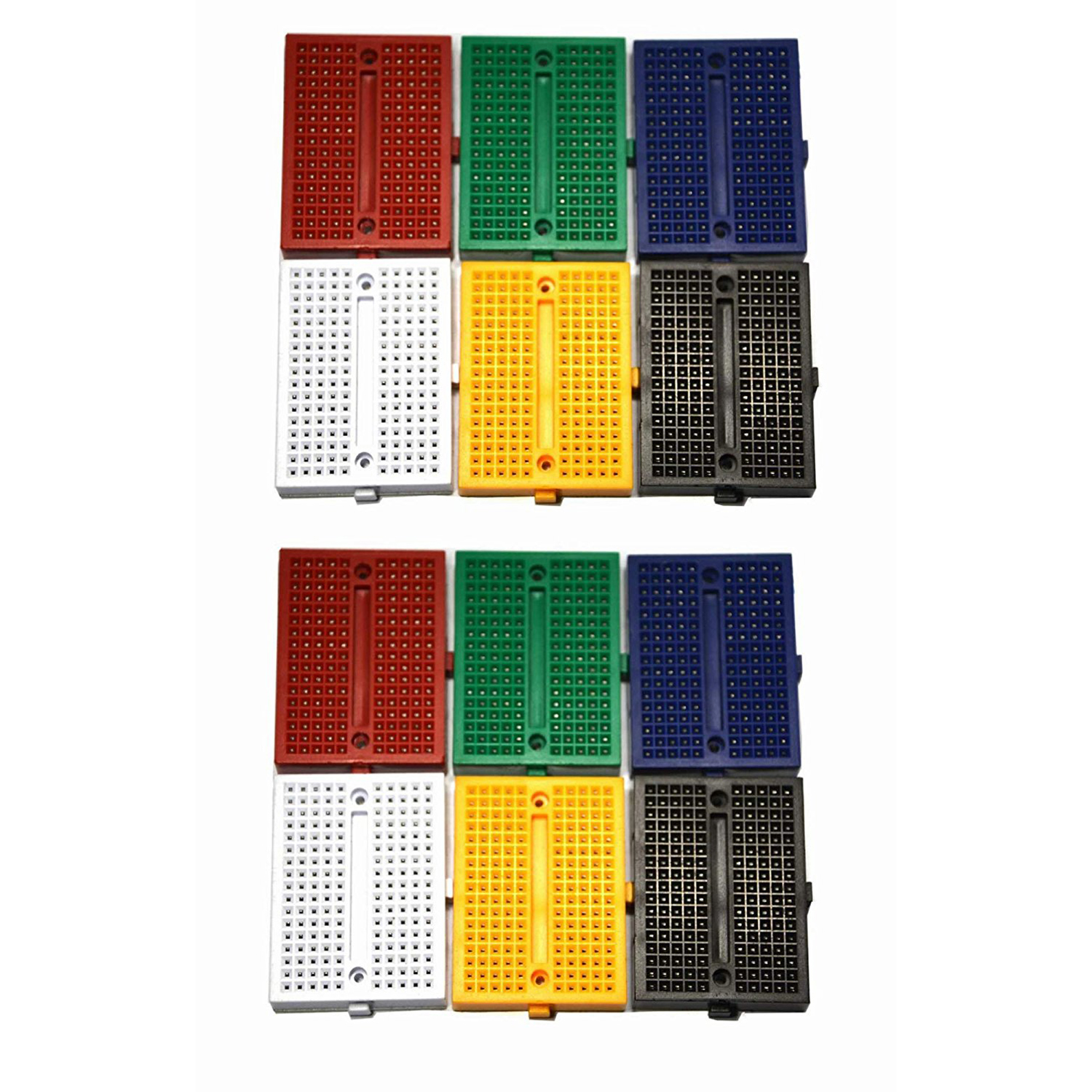 THGS 12Packs 170 Points Mini Small solderless breadboard for Arduino Proto Shield (6 colors)