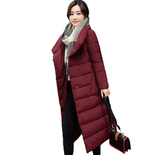 2018 New Arrival Female Coat Long Parka Parkas Stand Collar Women Winter Jacket Outwear Cotton Padded Breast Buttons Womens