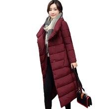 2018 nueva llegada mujer abrigo largo Parka Parkas Stand Collar chaqueta de invierno de las mujeres Outwear algodón acolchado pecho botones mujeres