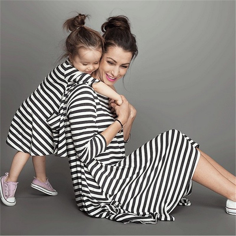 LILIGIRL Family Christmas Matching Clothes Outfits Mother And Daughter Black White Striped Pocket Dress For Parent-child Dresses