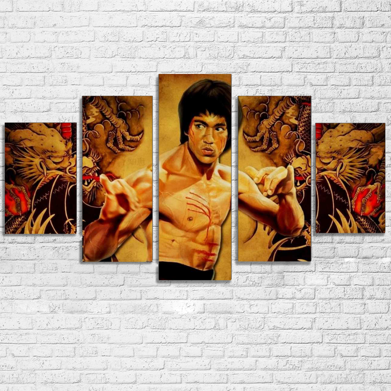 Home Decor Canvas HD Prints Poster Modern Pictures 5 Pieces Chinese Kung Fu Superstar Bruce Lee