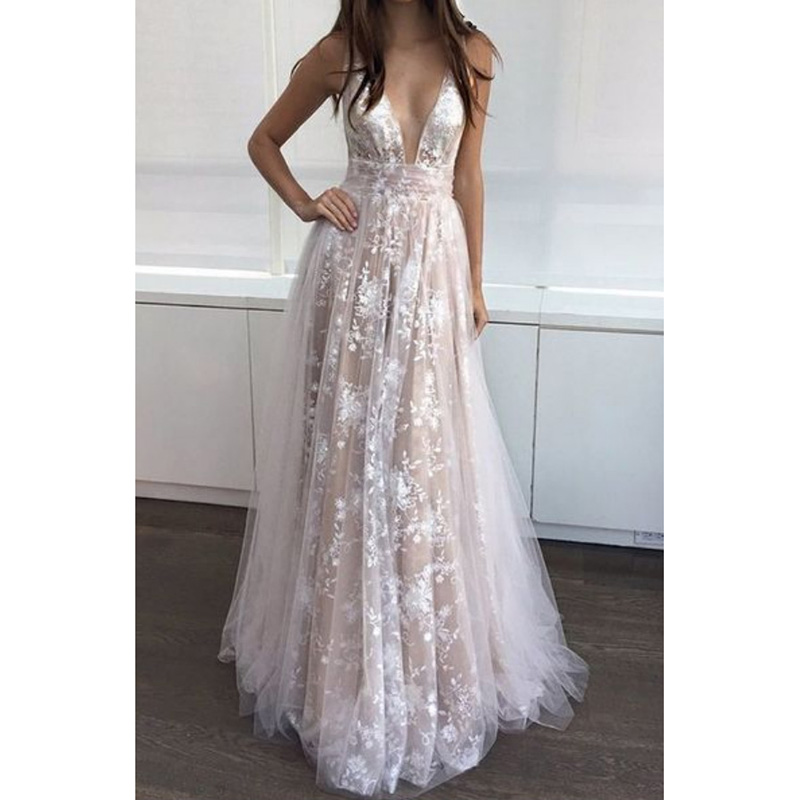 FLYMALL 2018 Women Summer Dress Sexy Lace Deep V Sleeveless Strap Dress Ladies Backless Grace Floor Length Princess Dress ...