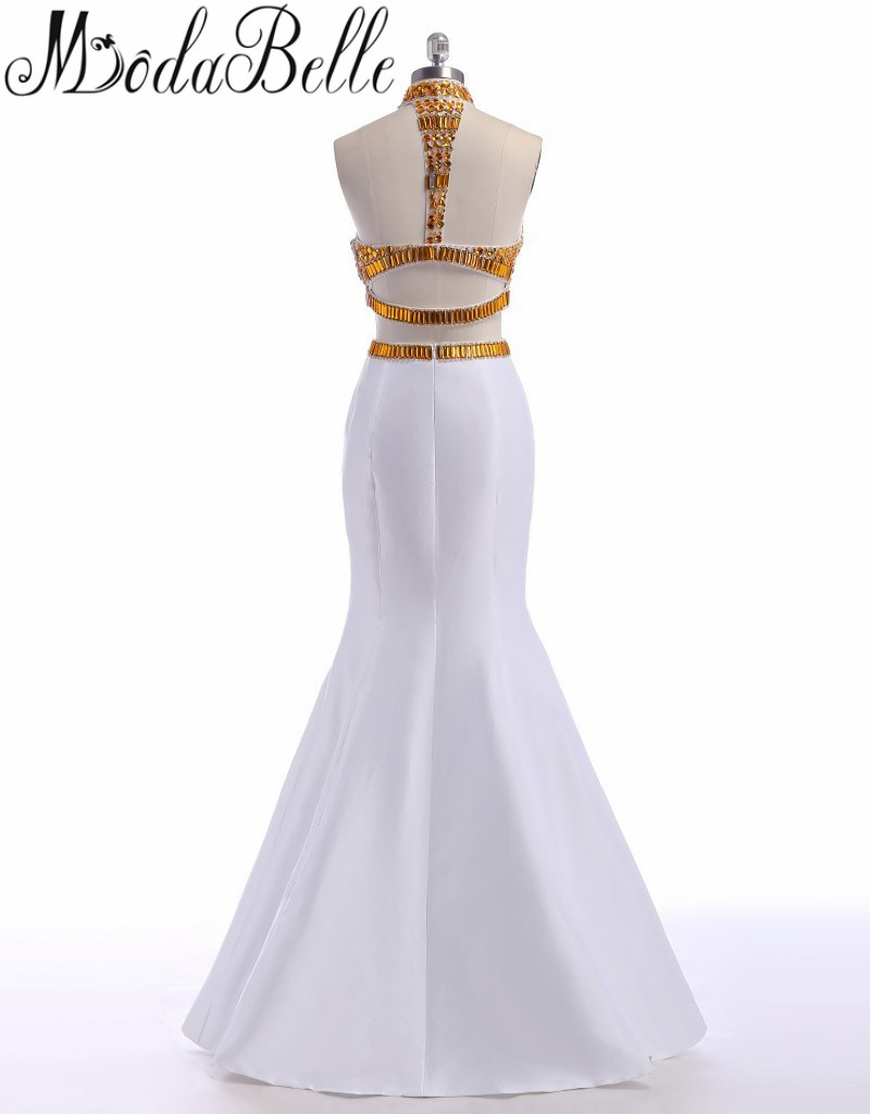 Aliexpress.com   Buy Modabelle High Neck White And Gold Prom Dresses With Crystal  2 Pieces Mermaid Long Dress Prom 2017 Beaded Sleeveless Party Dress from ... 751e7b4e8787