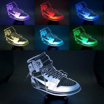Kreatif Colorful USB Anak Lampu Malam 3D LED Olahraga Sepatu Kamar Tidur Kantor Dekorasi Rumah Lampu Meja Lampu Meja Penggemar Olahraga Hadiah