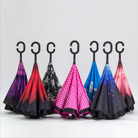 19 Colors Double Layer Reverse Umbrella Open Close In The Narrowest Space Creative Graphic Windproof Car